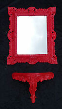 2-pieces Set Wall Mirror+Wall Bracket Red Mirror Table Baroque Antique 44x38