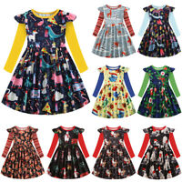 Kids Girls Princess Christmas Xmas Party Dress Toddler Long Sleeve Swing Dresses