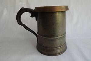 pewter antique quart tankard brass