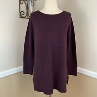 Eileen Fisher 100% Cashmere Pullover Sweater Ribbed Knit Burgundy Maroon XXS 2XS