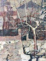 Très Belle Peinture Huile toile Signé HST Paysage Arbre  Abstrait