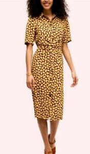 Kate Spade $348 Sunny Bloom Floral Ruched Shirt Dress 14 Crepe Back Belt Button