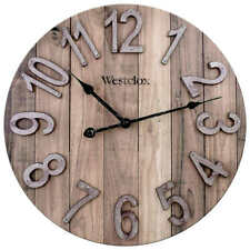 Wall Clock Round Analog Home Decor Large Display Rustic Modern Farmhouse Wooden