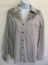 NWT NOBLE OUTFITTERS Women Shirt Grey Lace Chambray V Neck Button Front Shirt M