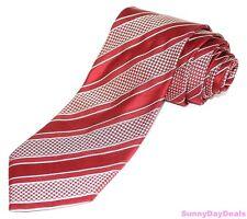 Giorgio Armani Necktie Silk Striped Check Red White Handmade Woven Tie Italy