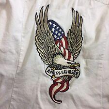 Harley Davidson Shirt Jacket Embroidered Eagle  Small White Women's EUC