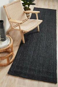Rug 100% Natural Braided Jute 2x6 Feet Black Runner Rug Rustic look Area Carpet