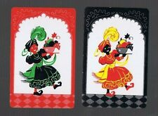 Playing Swap Cards 2 VINT DECO  COMICAL LADIES  WITH  BOWLS OF FRUIT  PAIR #502