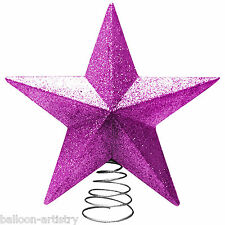 Classic PINK Glitter Sparkle 3D Star Christmas Tree Top Topper Decoration