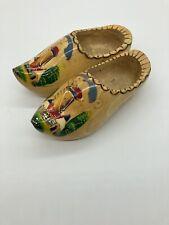 Vintage Holland Dutch Wooden Painted Decorative Shoes Clogs Windmill