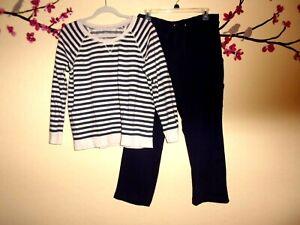 Women's Style & Co. Multi Color 2 Piece Sweatshirt Top and Drawstring Pants PL