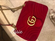 GUCCI WOMEN'S SHOULDER BAG ORIGINAL GG MARMONT RED