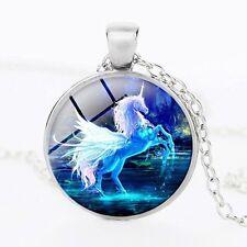 Glass Cabochon MOONLIGHT WINGED UNICORN HORSE Pendant Necklace UK Seller