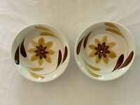 Vintage Ironstone Bowls (2) White With Yellow Brown Flowers Japan