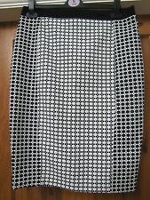 George Black White Floral/Check Straight/A-Line Mid Length Smart/Casual Skirt 12
