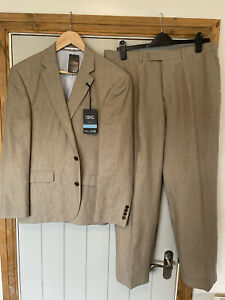 Next Mens LINEN Tailored Fit Suit BRAND NEW £120 Beige 40S Jacket 34S Trousers