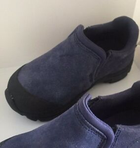 New Lands End Boys OUTDOOR  Moccasin Shoes Slip On Blue SZ 8 WINTER 24 7 rain