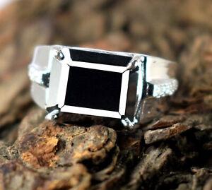 7.21 Ct Emerald Cut 925 Silver Black Diamond Solitaire Halo Men's Designer Ring
