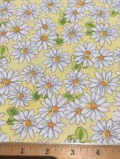 "100% Cotton Fabric DAISY DAISIES Cheerful! 18""x22"" FQ DIY Mask / Quilting"