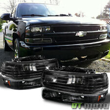 Black 99-06 Chevy Silverado Tahoe Suburban Headlights +Bumper Lamps Replacement