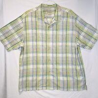 Tommy Bahama Men's XL Original Fit Silk Green Plaid Hawaiian Camp Short Shirt