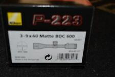 "Nikon P-223 3-9x40mm Matte BDC 600 1"" Tube NIB 8497 Free Shipping"