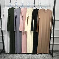 Women Long Dress Bodycon Robe Casual Muslim Ramadan Sexy Maxi Vintage Islamic