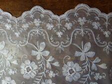 Vintage-Gardinen / -Stores, mit Blumen bestickt und breiter Borte, zum Raffen
