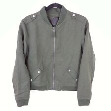 New Paige Green Cloth Bomber Womens Zip Moto Canvas Military Style Jacket Size M