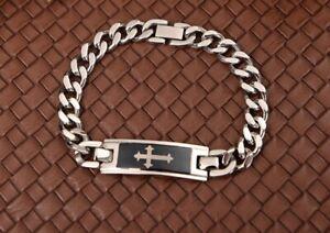 "Men Titanium Stainless Steel Bless Cross Bar Flat Chain Wrist Bracelet 8.25"""