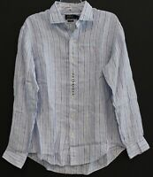 Polo Ralph Lauren Mens Blue Striped 100% Linen Button-Front Shirt NWT Size XL