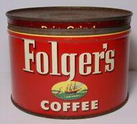Old Vintage 1952 FOLGERS GRAPHIC KEYWIND COFFEE TIN 1 POUND KANSAS CITY MISSOURI