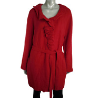 Cynthia Rowley Womens 100% Wool Coat Plus Size 2X Button Up Tie Waist Jacket