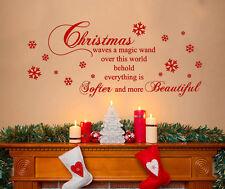 XL Merry Christmas Quote Magic Wand Beautiful Decoration Wall Art Decal Sticker