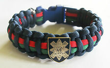 BLACK WATCH REGIMENT PARACORD WRISTBAND WITH BADGES