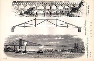 1880 PRINT ~ BRIDGE PONT DU GARD WOODEN BRIDGE BY PALLADIO BROOKLYN NEW YORK