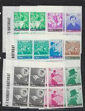 AJMAN MICHEL # 141-9 JFK KENNEDY IMPERF BLOCKS OF 4 MNH