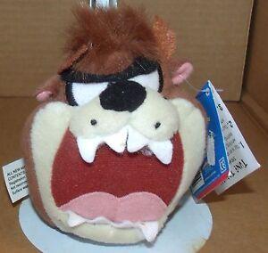 "4"" taz face plush stuffed animal ball Looney tunes NWT WB 1998 play by play"