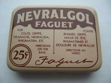 NEW OLD STOCK PILL TIN CAN MEDICATION NEVRALGOL SHERBROOKE QUEBEC CANADA SIGN