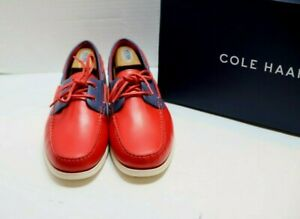 """Cole Haan """"Cornell"""" Red/Blue Boat Shoe 10D $150 BRAND NEW! NIB NR"""
