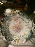 Stunning Antique Rare R S Prussia TEAL GREEN with FLORALS Cabinet Bowl a BEAUTY!