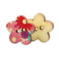 100Pcs Colores Boutons de fleurs en bois Scrapbooking bricolage (Fleur) R7Q4
