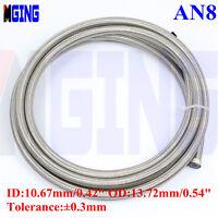 AN8 8AN AN -8 Teflon PTFE Stainless Steel Braided E85 Oil Line Fuel Hose L=1FT