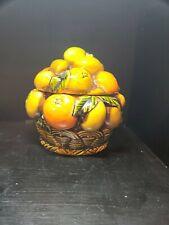 Vtg INARCO E3352 Orange Spice Fruit Basket COOKIE JAR Lemons Made in Japan NICE