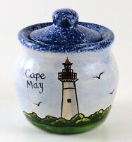 Cape May Sugar Bowl w/Lid, Nola Watkins Collections Halifax Handpainted Pottery