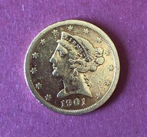 5 Dollars OR Liberty 1901 S - Etats-Unis
