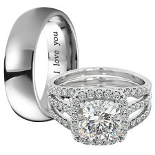 New Couple  Titanium & 925 Sterling Silver Wedding Engagement Ring Set
