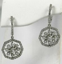 Diamond Drop Earrings 18k White Gold with 104-Round Diamonds at 1.34ct total wt.