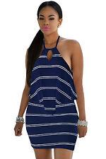 Mini Abito schiena aperta lacci trasparente Nudo Ruffle Striped dress clubwear M