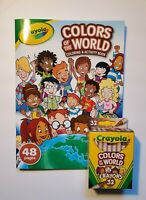 New Crayola COLORS OF THE WORLD Coloring Book & 32 Pack of Crayons
